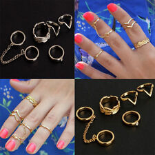 6PCS / Set Gold Urban Rings Crystal Above Knuckle stacking Band Midi Mid Rings