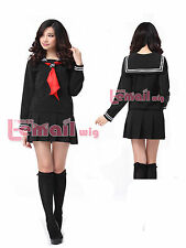Black Hell Jigoku Shoujo Ai Enma School Sailor Uniform Cosplay Costume Dress