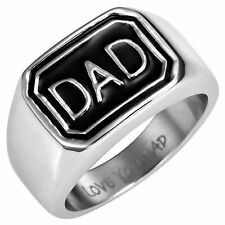 New Mens Stainless Steel DAD Ring Engraved Love You Dad