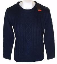 Bnwt Authentic Men's Pierre Cardin Cable Knit Chunky Jumper Crew Neck Navy New