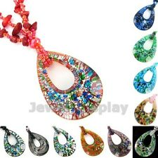 4x Murano Lampwork Glass Pear Shape Pendant Long Necklace Jewelry Colour Choice