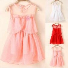 Fashionable New Baby Kid Girl Princess Sleeveless Tulle Tutu Dress Lace Sundress