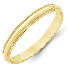 3mm 10K Yellow Gold Standard Fit Milgrain Edge Wedding Ring Band Size 5-14