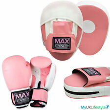 Pink Focus Pad & Boxing Gloves Ladies Set MMA Punch Bag Hook Jab Training Fight