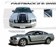 Fastback 2 Boss OE Style Hood Stripes Decals Graphic 3M Vinyl 2005-2009 Mustang