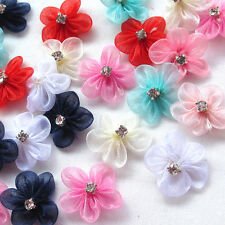 30/150pcs Organza Ribbon Flowers Bows W/Rhinestone Appliques Wedding Mix A495