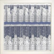 """BARKING DOGS CAFE NET CURTAIN WHITE LACE CURTAIN 15"""" 24"""" 36"""" DROPS AVAILABLE"""