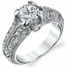 Sterling Silver Cubic Zirconia 1.25 Carat TW Vintage Engagement Ring Wedding Br