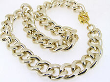 New Shiny Charm Cut Light GOLD Chunky Aluminium Curb Chain Necklace Bracelet/set