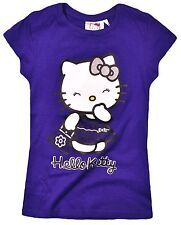 Girls Purple HELLO KITTY Soft Touch Summer/Holiday T-Shirt/Top  Age 4 6 8 10 yrs