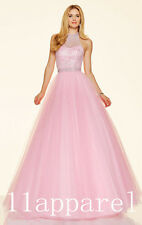 Sexy Pink Bead Long Prom Dress Sweet 16 Party Evening Quinceanera Pageant  Gown