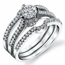 Sterling Silver Cubic Zirconia 0.75 Carat TW Round Cut Wedding Engagement Ring