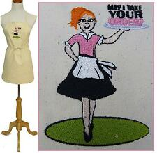 "Retro Waitress Apron Restaurant Server Monogram May I Take Your Order 24"" or 30"""