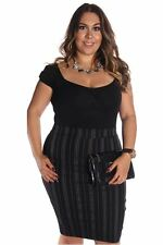 121AVENUE Classy Striped Skirt 1X Women Plus Size Black Straight