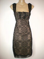 NEW VINTAGE 50'S STYLE CHIC BLACK LACEY ROSA PENCIL PARTY DRESS