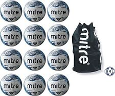 12 x MITRE MISSION TRAINING FOOTBALLS + BALL SACK - WHITE/BLUE - SIZES 3, 4 & 5