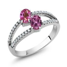 1.41 Ct Pink Mystic Topaz Pink Tourmaline Two Stone 925 Sterling Silver Ring