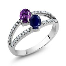 1.31 Ct Oval Purple Amethyst Blue Sapphire Two Stone 925 Sterling Silver Ring