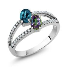 1.41 Ct London Blue Topaz Green Mystic Topaz Two Stone 925 Sterling Silver Ring