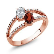 1.41 Ct Oval White Topaz Red Garnet Two Stone 18K Rose Gold Plated Silver Ring