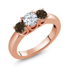 1.02 Ct Round White Topaz Brown Smoky Quartz 18K Rose Gold Plated Silver Ring