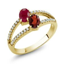 1.51 Ct Oval Red Ruby Red Garnet Two Stone 18K Yellow Gold Plated Silver Ring