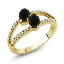 1.19 Ct Oval Black Onyx Two Stone 18K Yellow Gold Plated Silver Ring