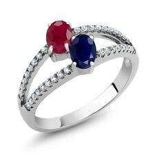 1.56 Ct Oval Red Ruby Blue Sapphire Two Stone 925 Sterling Silver Ring