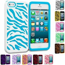 Zebra Hybrid Color 2-Piece Hard/Soft Case Skin Cover for iPhone SE
