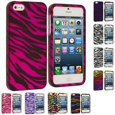 Zebra Colorful Design Hard Snap-On Rubberized Case Cover for iPhone SE