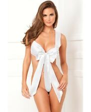 RENE ROFE Sexy Lingerie Unwrap Me Bridal Satin Bow Teddy