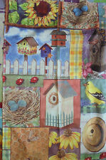 Picket Fence Bumble Bees Birdhouses and birds yard garden flag used chic spring
