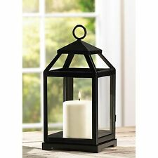 BULK LOTS Small Black Iron Contemporary Pillar Candle Lanterns with Clear Glass