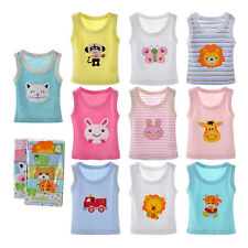 Summer Toddler Girls Boys T Shirt Baby Tank Tops Floral Infant Vest Crew Neck YG
