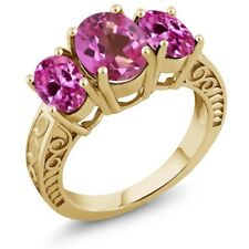3.60 Ct  Pink Mystic Topaz & Created Sapphire 18K Yellow Gold Plated Silver Ring