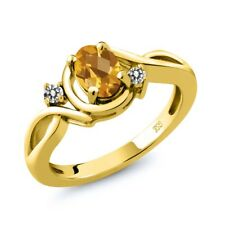 0.77 Ct Checkerboard Citrine White Diamond 18K Yellow Gold Plated Silver Ring