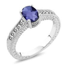 0.98 Ct Checkerboard Blue Iolite White Diamond 18K White Gold Engagement Ring