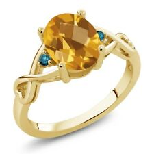 1.36 Ct Checkerboard Citrine and Blue Diamond 18K Yellow Gold Plated Silver Ring