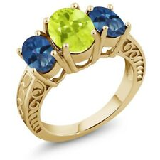 3.25 Ct Lemon Quartz Mystic Topaz 18K Yellow Gold Plated Silver Ring