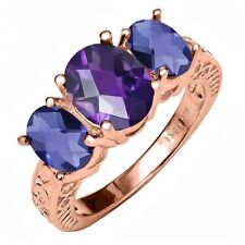 2.80 Ct Oval Checkerboard Amethyst Blue Iolite 18K Rose Gold Plated Silver Ring