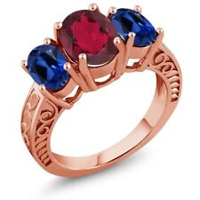 3.60 Ct Mystic Quartz Simulated Sapphire 18K Rose Gold Plated Silver Ring