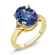 4.02 Ct Mystic Quartz Pink Sapphire 18K Yellow Gold Plated Silver Ring