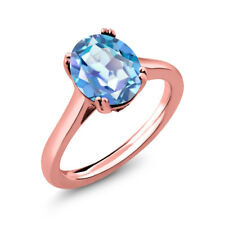 3.63 Ct Mystic Quartz White Created Sapphire 18K Rose Gold Plated Silver Ring