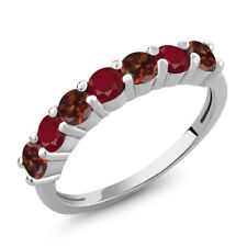 1.46 Ct Round Red Garnet Red Ruby 925 Sterling Silver Ring
