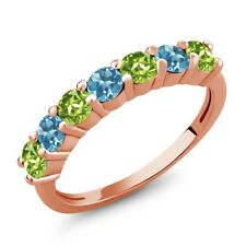 1.32 Ct Round Green Peridot Swiss Blue Topaz 18K Rose Gold Plated Silver Ring