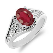 1.12 Ct Oval African Red Ruby 18K White Gold Ring