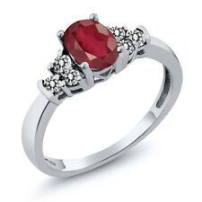 0.91 Ct Oval African Red Ruby White Diamond 925 Sterling Silver Ring