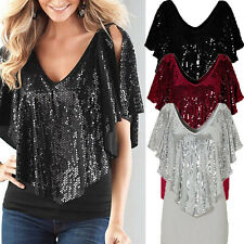 Women Sexy Loose Sequin T Shirt Lace Blouse Batwing Short Sleeve Casual Tops