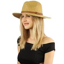 Crushable Panama Fedora Safari Summer Beach Sun Belt Wide Hat Adjustable