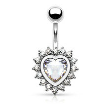"""Heart Shape Paved CZ 316L Surgical Steel Navel Belly Button Ring 14g 3/8"""""""